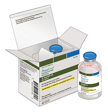 PRAXBIND vial for dosing, prep and administration